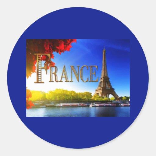 Tour Eiffel sur le TEXTE France de la Seine Adhésifs Ronds