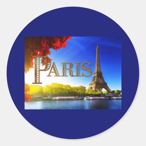 Tour Eiffel sur le TEXTE Paris de la Seine Autocollants Ronds