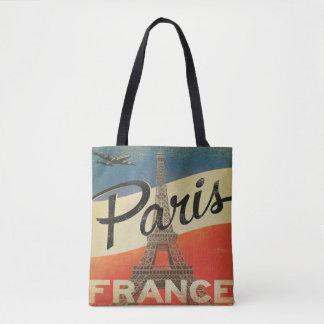 Tour Eiffel vintage d'avion de Paris France Tote Bag