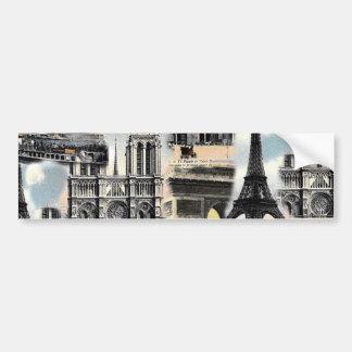Tour Eiffel vintage de collage de voyage de Paris  Autocollant Pour Voiture