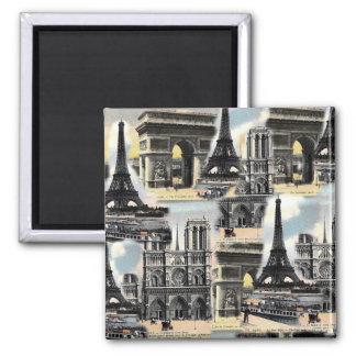 Tour Eiffel vintage de collage de voyage de Paris  Magnet Carré