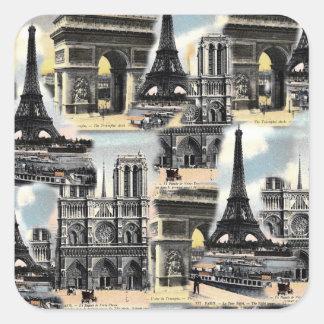 Tour Eiffel vintage de collage de voyage de Paris Sticker Carré