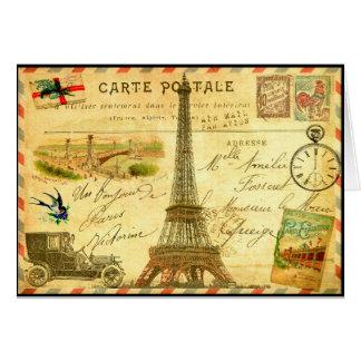 Tour Eiffel vintage de Paris de carte postale de