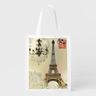 Tour Eiffel vintage de Paris de dentelle florale Sacs D'épicerie Réutilisables