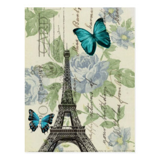 Tour Eiffel vintage élégant de papillon de Paris Cartes Postales
