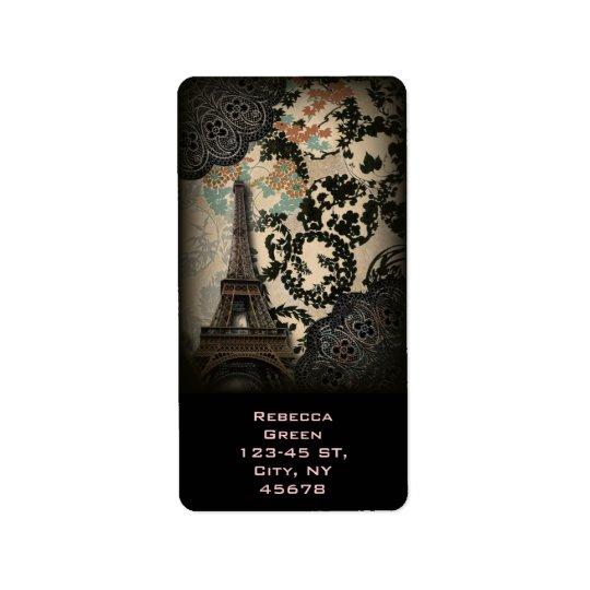 Tour Eiffel vintage floral noir de Bohème de Paris Étiquettes D'adresse