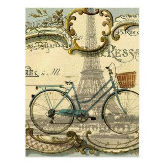 Tour Eiffel vintage girly moderne de Paris de vélo Carte Postale