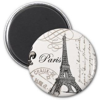 Tour Eiffel vintage moderne Magnet Rond 8 Cm