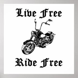 Tour gratuit vivant libèrent la moto posters