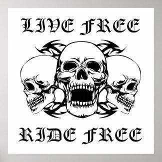 Tour gratuit vivant libèrent trois crânes posters