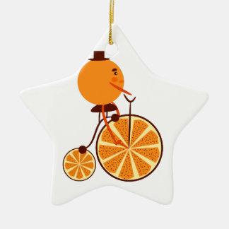 Tour orange ornement étoile en céramique