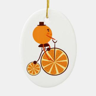 Tour orange ornement ovale en céramique