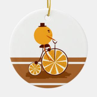 Tour orange ornement rond en céramique
