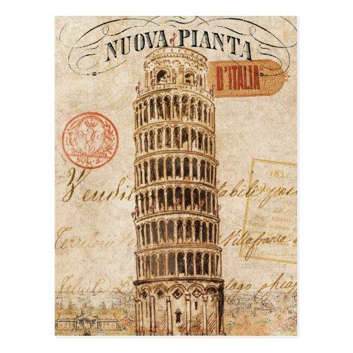 Tour penchée vintage de Pise Carte Postale