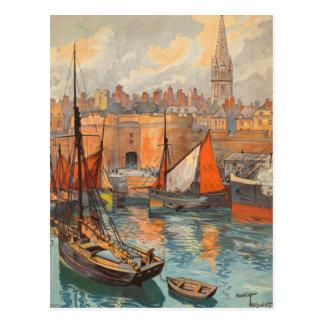 Tourisme vintage de port de Malo de saint de Carte Postale