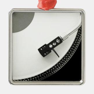 Tourne-disque d'aiguille de plaque tournante ornement carré argenté