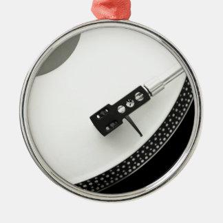 Tourne-disque d'aiguille de plaque tournante ornement rond argenté