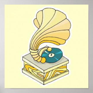 tourne-disque de phonographe affiche