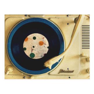 Tourne-disque vintage carte postale