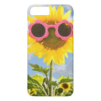 tournesol avec des lunettes de soleil coque iPhone 7 plus