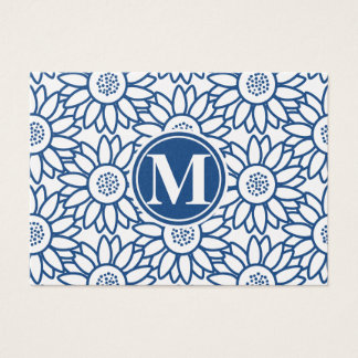 Tournesol bleu classique de monogramme cartes de visite