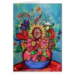 Tournesol dans le vase rose carte de vœux