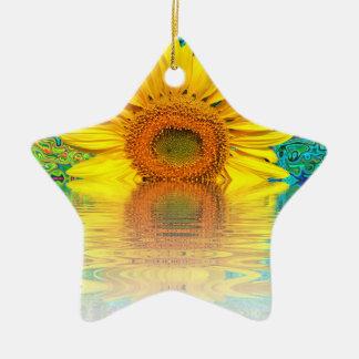 tournesol dans l'eau ornement étoile en céramique