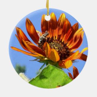 Tournesol de beauté d'automne et abeille de miel décoration pour sapin de noël