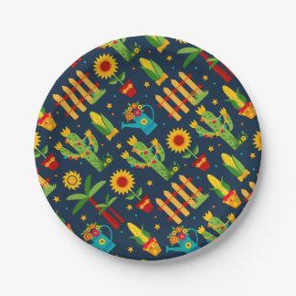 Tournesol de cactus sur le motif bleu de Festa Assiettes En Papier