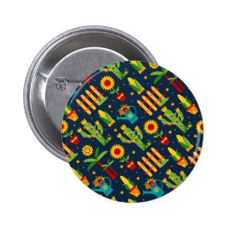 Tournesol de cactus sur le motif bleu de Festa Badge
