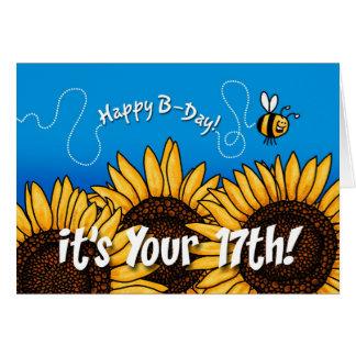 tournesol de traînée d abeille - 17 années carte de vœux