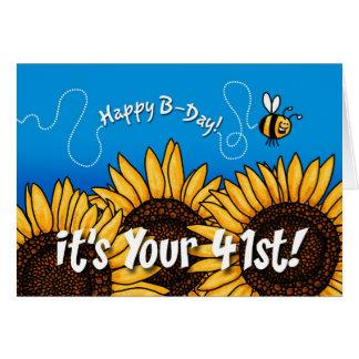tournesol de traînée d abeille - 41 années cartes de vœux