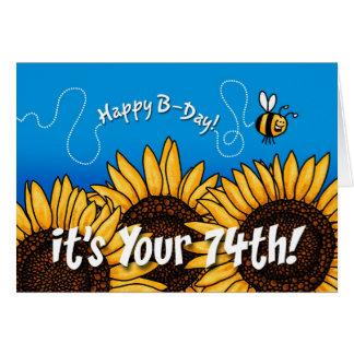 tournesol de traînée d abeille - 74 années cartes de vœux