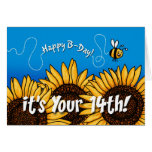 tournesol de traînée d'abeille - 14 années cartes