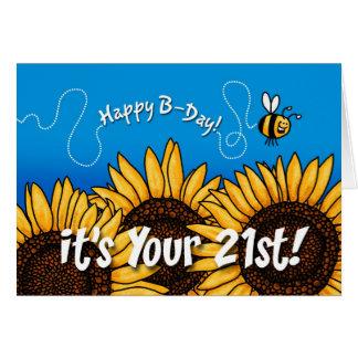 tournesol de traînée d'abeille - 21 années carte de vœux