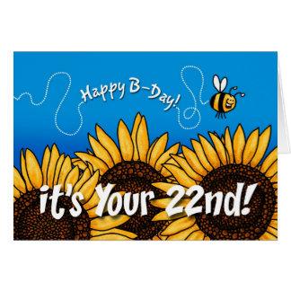 tournesol de traînée d'abeille - 22 années carte de vœux