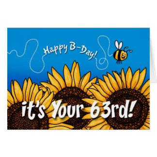 tournesol de traînée d'abeille - 63 années cartes de vœux