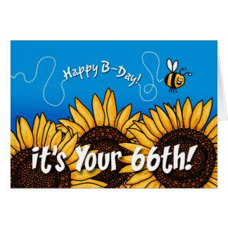 tournesol de traînée d'abeille - 66 années carte de vœux