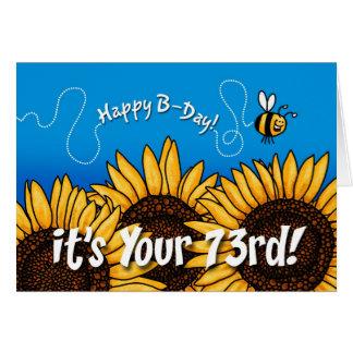 tournesol de traînée d'abeille - 73 années carte de vœux
