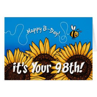 tournesol de traînée d'abeille - 98 années carte de vœux