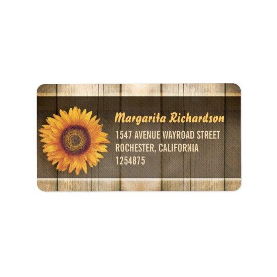 tournesol et étiquettes de adresse en bois