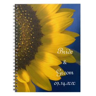 Tournesol jaune sur le mariage bleu carnets à spirale