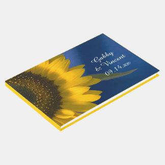 Tournesol jaune sur le mariage bleu livre d'or