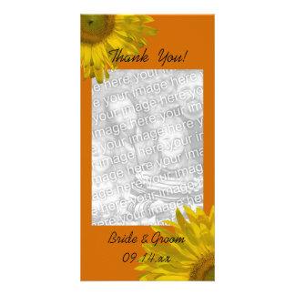 Tournesol jaune sur le Merci orange Cartes De Vœux Avec Photo