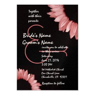 Tournesol rose et noir épousant le modèle carton d'invitation  12,7 cm x 17,78 cm