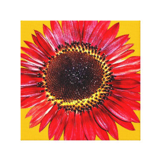 Tournesol rouge lumineux de beauté d automne sur l impression sur toile