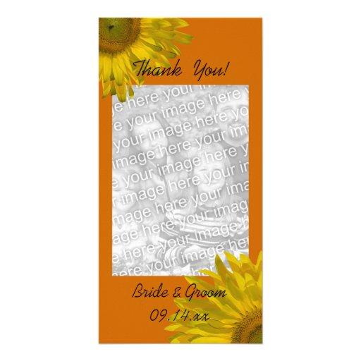 Tournesol sur le carte photo orange de Merci Cartes Avec Photo