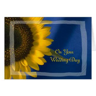 Tournesol sur le mariage de famille mélangé par carte de vœux