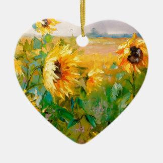 Tournesols dans le vent ornement cœur en céramique