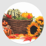 Tournesols d'automne de citrouilles de Halloween Sticker Rond